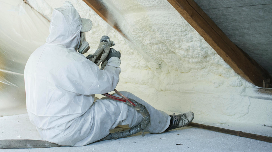 Spray foram insulation in an aging home
